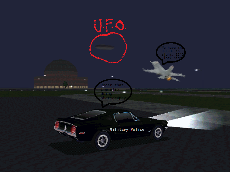 Fighting Falcon: We have the UFO in sight, 12' O Clock high.