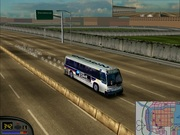 "Photograph of the game Midtown Madness 1, executed thanks to the tool ""Video Patcher\"", and \""Widescreen tool\"". Using the modified city bus with \""Midtown Madness Tweaker\""."