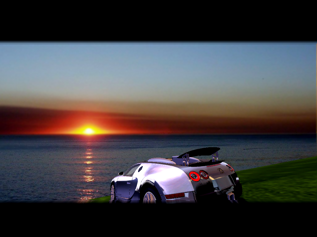 !An incredible view of the ocean with a Bugatti Veyron!