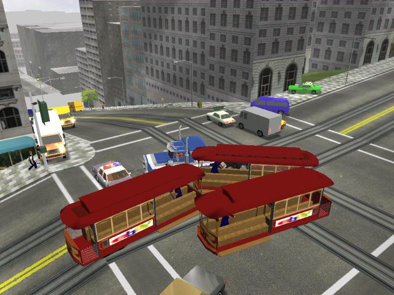It happened by accident, when I drove with my Peterbilt: One tram was on the left side and the other one on the right side of the road. I've crashed them, they derailed and I've moved them to a good position, like you see in my screen. Guess, where the th