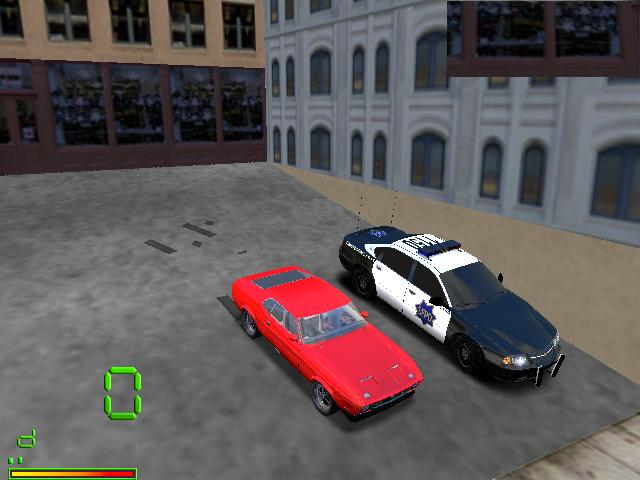 an unlikely combination... a Ford Mach II and a Chevrolet Impala police car....