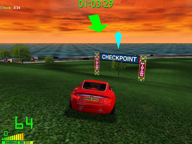 Aston Martain DB7 Vanquish V12 in the Blitz track, ''Park Blitz''