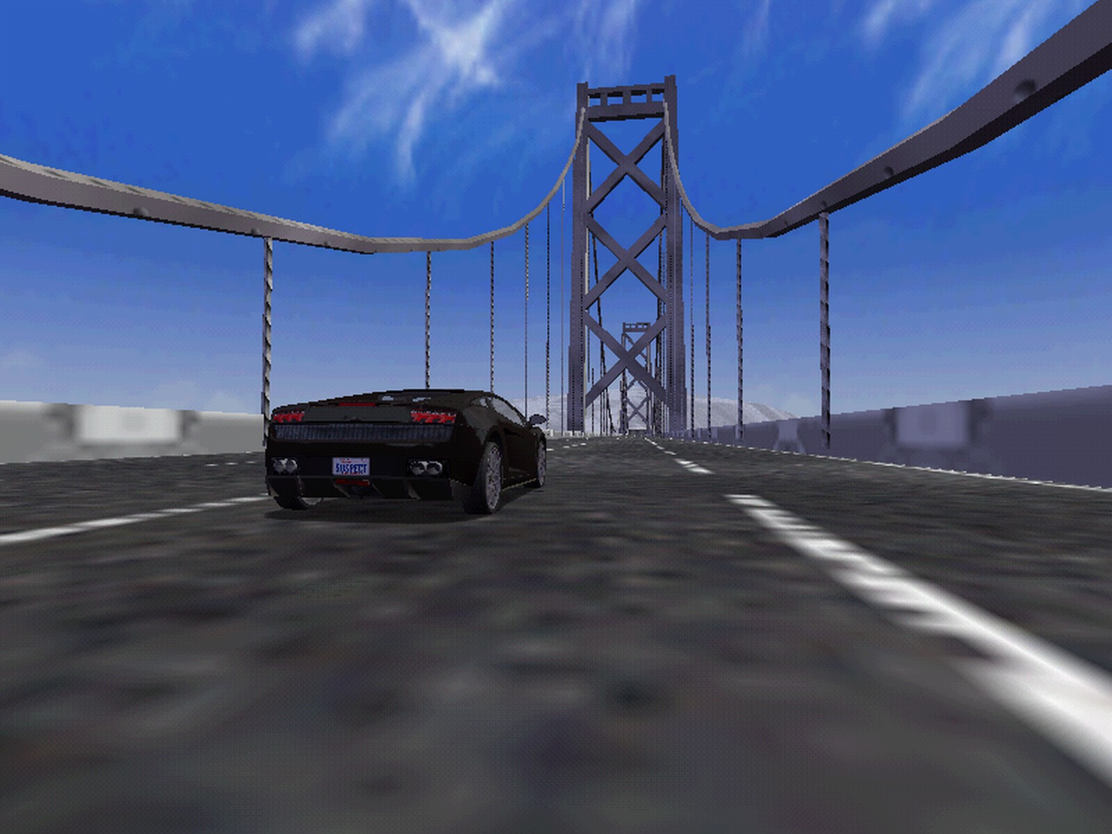 This is Riva's Lamborghini on the bridge of Frisco...