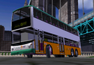 It is a Dennis Trident 12m with  ALX500 bodied owned by New World  First Bus ltd in HK. For the narrow streets it have a good steering - look at the screenshot, a 12m vehicle can turn over 90 degrees, or even more!