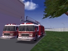 Hiya folks, today we have two fire trucks at the fire station. One is a ladder unit, and one is the default fire truck as a prop without its trailer. :-( This image was improved by using the