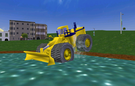 Attempting to fly this dozer by hitting shallow water like how other heavy vehicles usually of the Komatsu tuning fly.