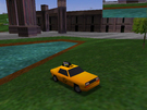 Look! This is the Crazy Taxi, it's beside the pool, cool scene
