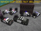 Which cop car does not belong with the others?